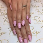 Pink coffin shape nails